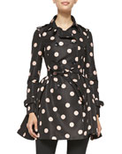 Polka-Dot Belted Trench Coat