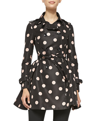 Polka-Dot Belted Trench Coat & Stretch Wool Skinny Pants
