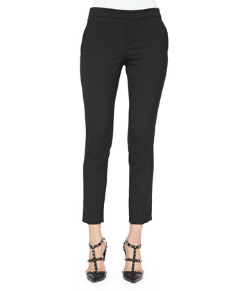 Stretch Wool Skinny Pants, Black