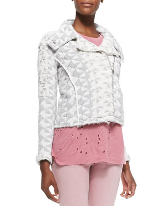 Otavia Triangle-Pattern Quilted Jacket, Clay Holy Linen-Slub Tee & Narkyce ...