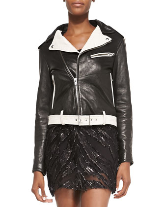 Wamiel Contrast-Trim Leather Jacket