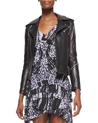 Wenda Studded Lambskin Moto Jacket & Frigye Printed Tiered-Skirt Dress