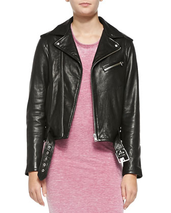 Wilma Asymmetric-Zip Leather Moto Jacket