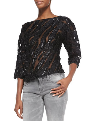 Heddi Patterned Knit Jacket, Ornela Sequin/Sheer Striped Top & Night ...