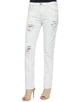 Nadji Mid-Rise Distressed Jeans, Off White