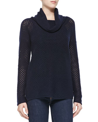 Cowl-Neck Mesh Cashmere Sweater