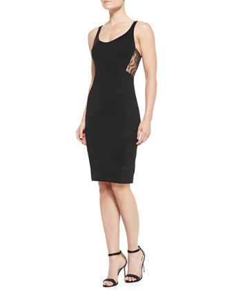Ornella Lace-Panel Tank Sheath Dress