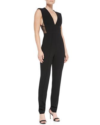Russo Knit Deep-V Lace-Detail Jumpsuit