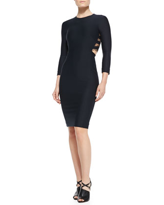 Romy 3/4-Sleeve Sheath Dress with Lace-Inset Back