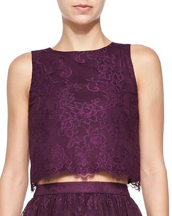Amal Lace Cropped Boxy Tank & Perkins Full Lace Skirt