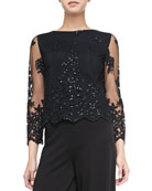 Ava Sheer-Sleeve Embroidered Sequined Top