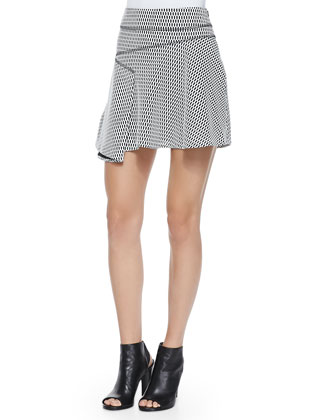 Ribbed Crewneck Sweater W/ Arrow Detail & Printed Flared Skirt W/ Side ...