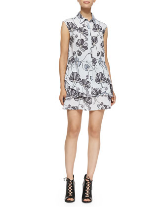 Sleeveless Shirtdress with Ruffled Bottom