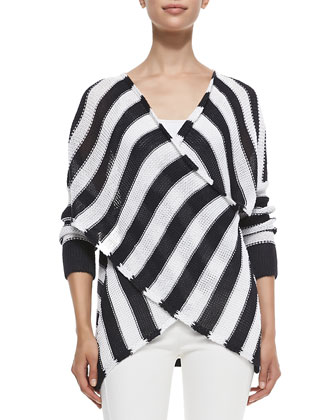 Striped Cross-Front Pullover Sweater