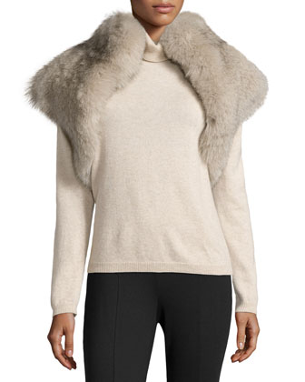 Fox Fur Shrug, Taupe