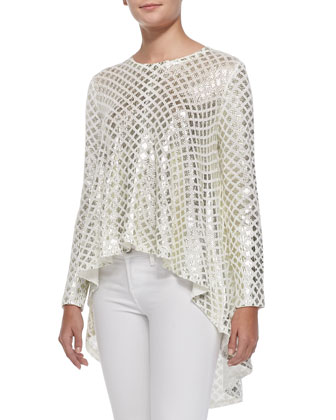 A Great Offering Metallic-Weave Sweater