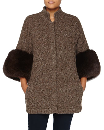 Cable-Knit Tweed Coat with Fox Fur Cuffs