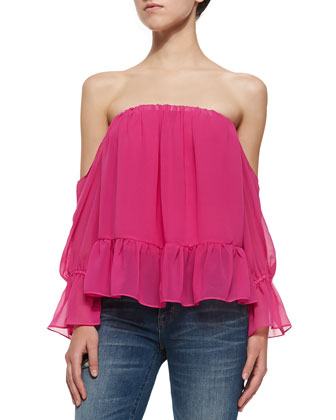 Off-the-Shoulder Top W/ Ruffle Hem