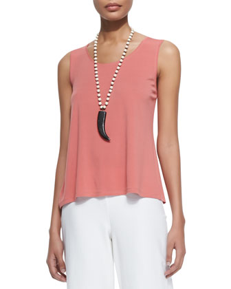 Stretch Silk Jersey Tank, Coral, Women's