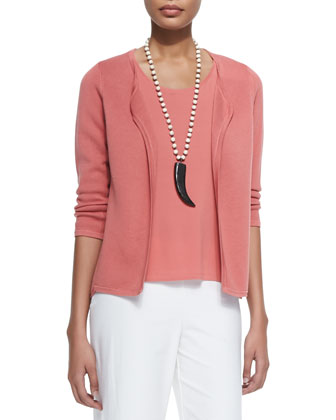 Silk Interlock Shaped Jacket, Stretch Silk Jersey Tank & Modern Wide-Leg ...