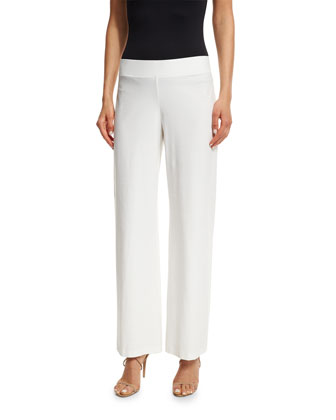 Modern Wide-Leg Stretch-Crepe Pants, White, Petite