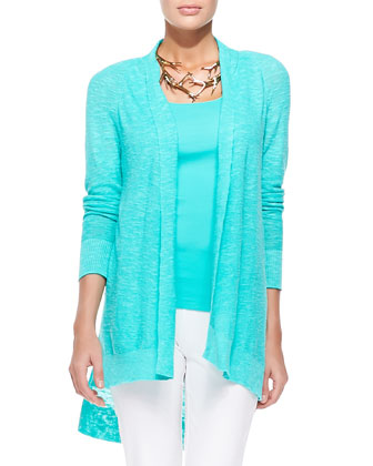 Linen-Cotton Slub Cardigan, Organic Cotton Slim Tank & Washable-Crepe ...
