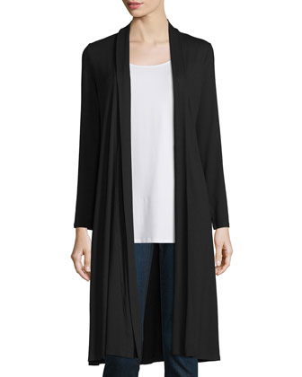Long Shaped Jersey Cardigan, Long Jersey Tunic Airy Grid-Striped Linen/Wool ...