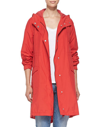 Hooded Long Anorak Jacket, Organic Cotton Slubby Tee, Stretch Boyfriend ...