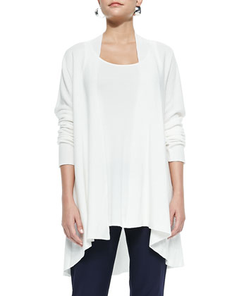 Long Knit High-Low Cardigan, White, Petite