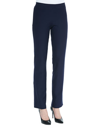 Washable-Crepe Boot-Cut Pants, Midnight