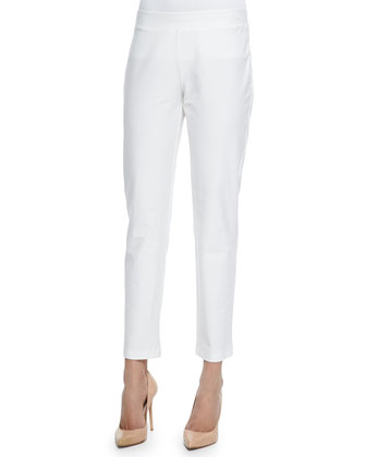 Washable Crepe Slim Ankle Pants, White, Women's