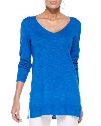 Organic Linen/Cotton Slub V-Neck Tunic, Petite