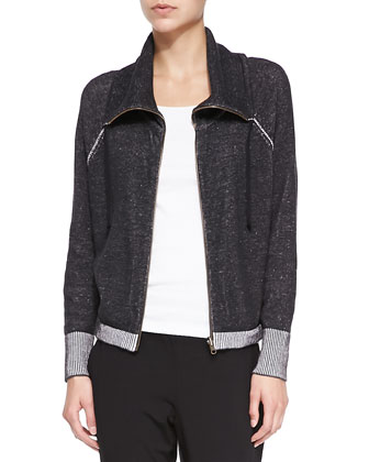 Plaited Organic Cotton Jacket W/ Contrast Trim