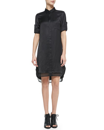 The Shirtdress with Double-Layer Hem, Black