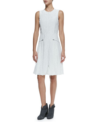 Nettie Sleeveless Zip-Pocket Dress W/ Dots