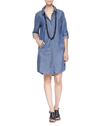 Denim Long-Sleeve Dress with Pockets, Women's