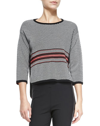 Dawn 3/4-Sleeve Striped Pullover & Chatel Skinny Side-Zip Pants