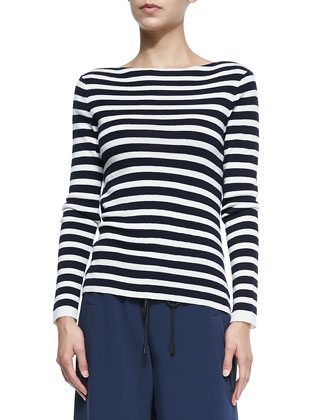 Linda Striped Cowl-Back Pullover