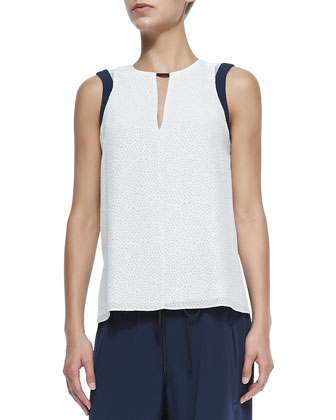 Lana Sleeveless Dot-Print Top