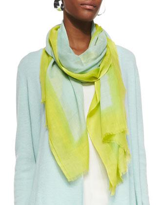 V-Neck Asymmetric Long Tunic, Neon Borders Silk Wool Scarf, Organic Cotton ...