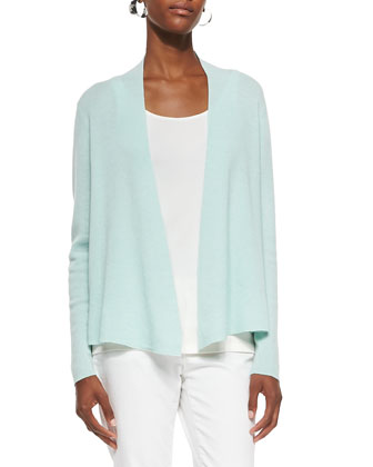 Merino Ribbed Cardigan, Pale Aqua, Women's