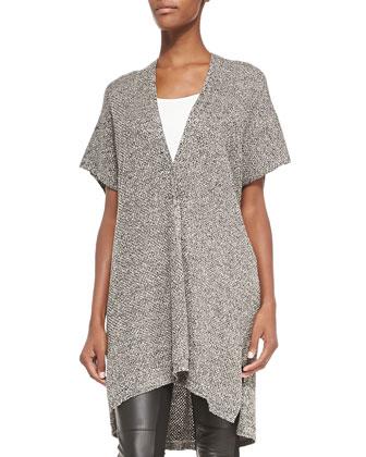 Kimono-Sleeve Organic Linen Wool Cardigan, Slim Camisole, Inky Prnted ...