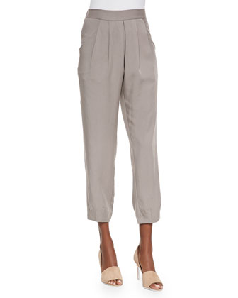 Slouchy Silk Ankle Pants, Stone, Petite