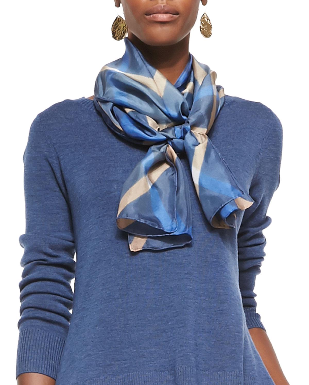 Shibori Rhombus Silk Scarf, Denim (Blue) - Eileen Fisher