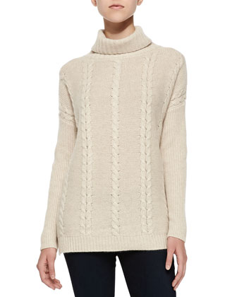 Cable-Knit Cashmere Turtlenck, Soft Beige