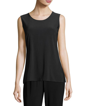 Stretch Knit Long Tank, Black