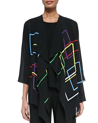 Primary Squares Draped Jacket, Stretch Knit Long Tank & Wide-Leg Pants, ...