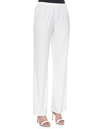 Stretch-Knit Straight-Leg Pants, White, Women's