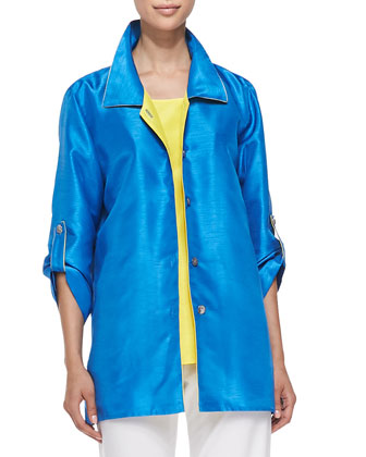 Colorblock Shantung Tab Shirt, Women's