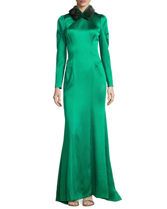 Mink-Collar Satin Gown, Emerald
